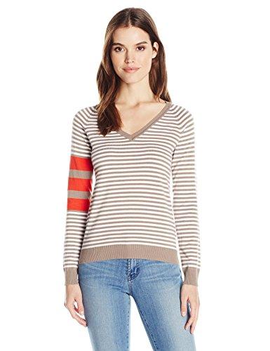 Wood Womens Sweater (525 America Women's V Neck Stripe Sweater, Beechwood Combo, XS)