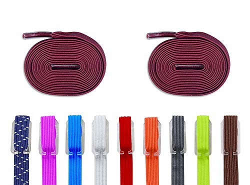 DB Elastic No Tie Shoe Laces, Replacement Shoelaces, Flat Elastic Shoe Laces for Running, Athletic, Mens, Womens, Kids Burgundy
