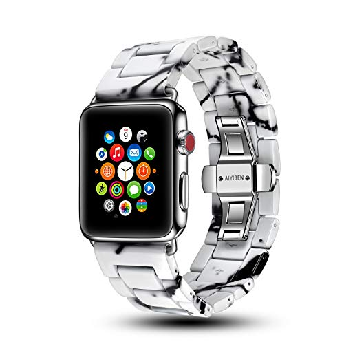 AIYIBEN Marble Watch Band Compatible with iwatch 42mm 38mm Unique Wrist Replacement Bracelet for iwatch Series 4 3 2 1 (White, 38mm/40mm)