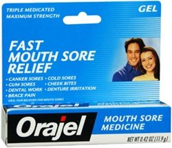 - Orajel Mouth Sores Gel Oral Pain Reliever/Antiseptic/Astringentor - 0.42 oz