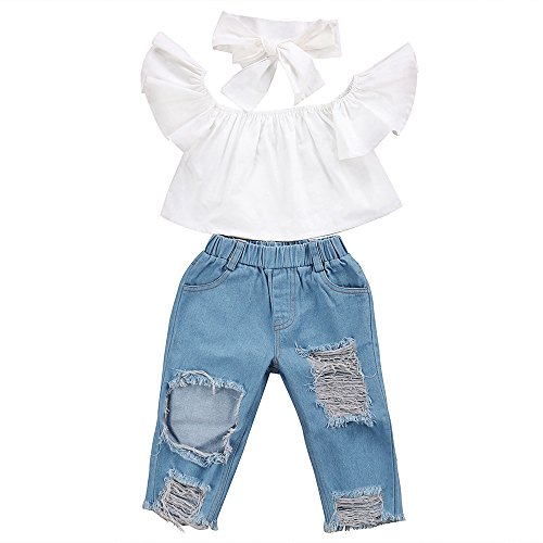 Kehen Kids Toddler Girls 3pcs Summer Outfits Ruffles Whirt T-Shirt Tops+Blue Denim Stretch Loose Jeans Destroy Ripped Jeans Distressed Pants+Headband Sets (White, 6-12 Months) by Kehen