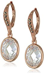 """Judith Jack """"Clear Cut"""" Sterling Silver Rose Gold-Plated Marcasite Cubic Zirconia Oval Drop Earrings"""