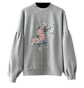 Somoll Suéter de Manga de Soplo de Las Mujeres Cuello Redondo Bordado Sudaderas (Color :