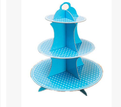 JKLcom 3-Tier Cupcake Stands Cardboard Cupcake Stand DIY Paper Towerl for Baby Shower Boy Birthday Cupcake Stand (BLUE)