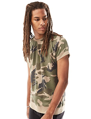 Rebel Canyon Young Men's Short Sleeve Crewneck Raglan Pullover Camo Sweatshirt Top Large Olive (Terry Banded Bottom Shirt)