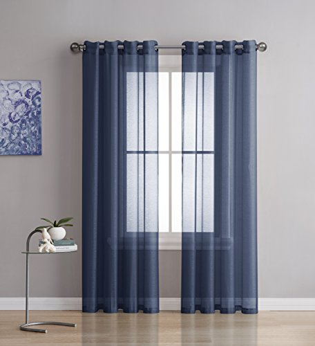 Best Sheer Grommet Window Curtains Panels for Bedroom, Living Room, Kitchen, Kid's Room and Outdoors Durable Polyester-2 Pieces (Navy, 54