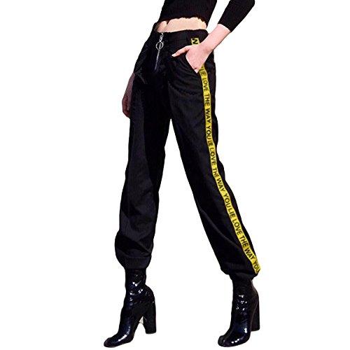 cerniera a alta Womens nastro Black lungo block fascio Sportwear vita l'anello color causale pantaloni allentato tirare xIaq5Pwq