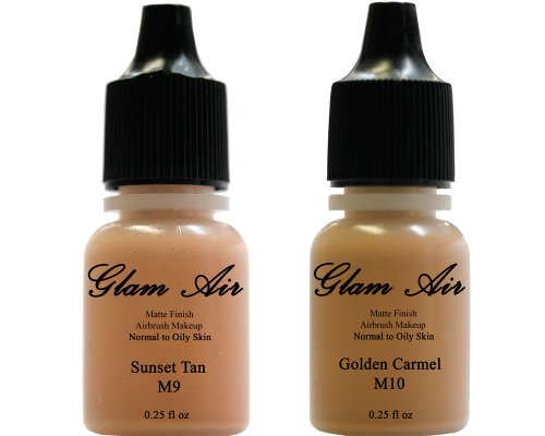 Airbrush Makeup Foundation Matte M9 Sunset Tan and M10 Golden Carmel Water-based Makeup Long Lasting All Day Without Smearing Running, Fading or Caking 0.25 Oz Bottle By Glam Air