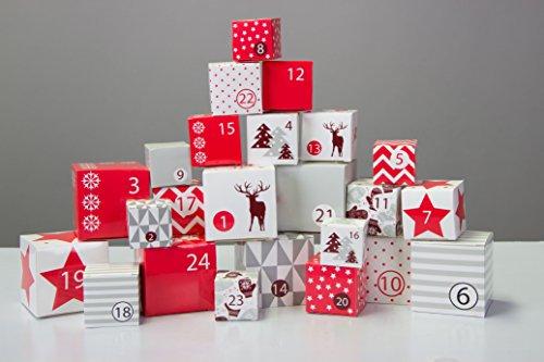 Adventskette mit 24 Boxen - zum aufhängen, inkl. 4 Meter Schnur - Adventskalender zum selber befüllen