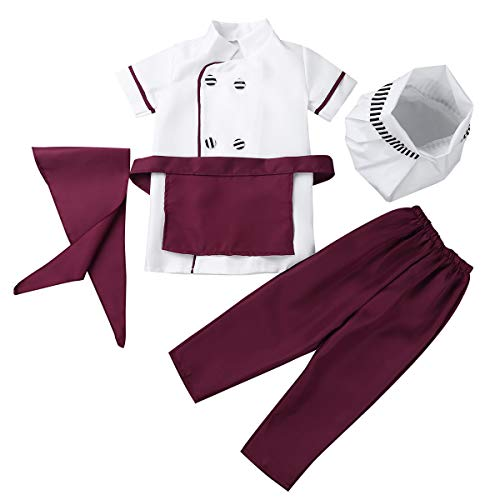 (CHICTRY Kids Children Classic Chief Kitchen Cooking Costumes Jacket +Apron+ Hat+Hairpin 4pcs Outfits Set 5pcs Set Burgundy)