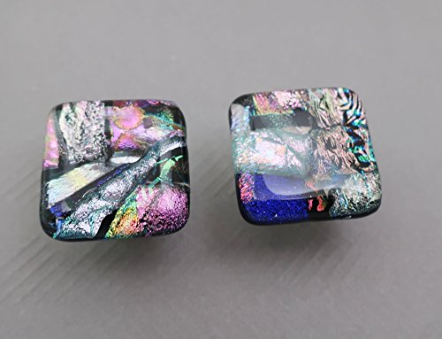 Pair handcrafted pink silver lavender fused dichroic glass cabinet knob Satin nickel finish