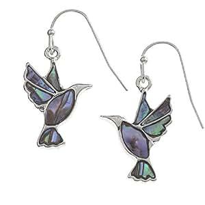 Abalone Paua Shell Green Hummingbird Drop Earrings