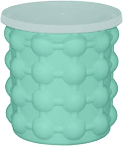 GWW Silicone Ice Bucket,Double Wall Ice Maker Beverage Cooler-Perfect for Picnics Outdoor-Green 11.3x11.3cm(4x4inch)