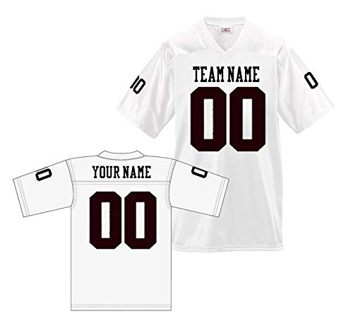 (Custom Football Replica Team Jersey (XX-Large, White - Black Font))
