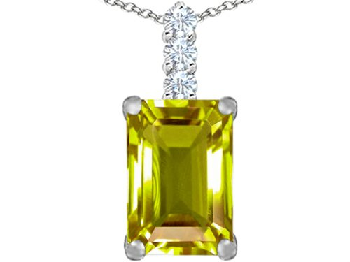 (Star K Large 14x10mm Emerald Cut Simulated Peridot and Cubic Zirconia Pendant Necklace Sterling Silver)