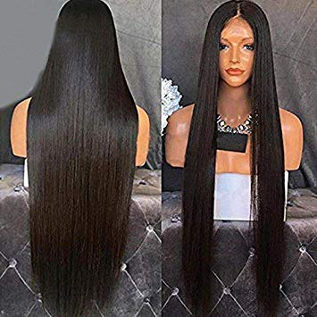 Lanting Hair Heat Resistant Fiber Hair Synthetic Wig Mermaid Black Color Silk Straight Synthetic Lace Front Wigs for Black Women(22inch lace front -