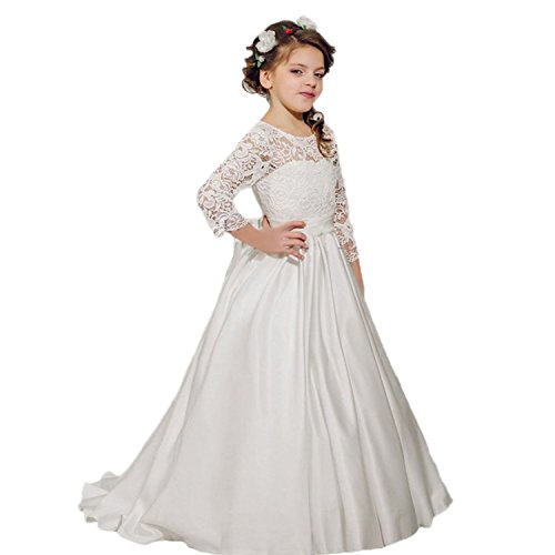 Banfvting Ivory Flower Girl Dress with Bow Sleeves Lace Long Toddler Prom Gown by Banfvting