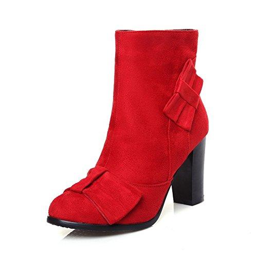 VogueZone009 Damen Reißverschluss Rund Zehe Hoher Absatz PU Leder Niedrig-Spitze Stiefel, Rot, 36
