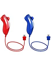 Nunchuk Nunchuck Controllers for Wii u PRO Console (Deep Blue and Red,2 Packs)