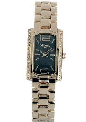 Señoras del reloj rectangular reloj con correa de acero inoxidable, oro y diamantes 16094GB Altanus