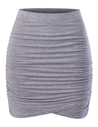 NEARKIN (NKNKWSK66 Women Fitted Stretch Shirring Draped Wrap Tulip Mini Skirt Gray US XS(Tag Size S)