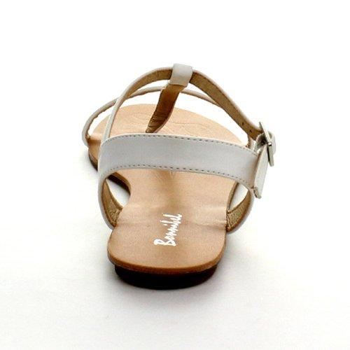 Bonnibel Maya-1 Sandalo Infradito Da Donna Con Cinturino Alla Caviglia Con Fibbia Alla Caviglia, Bianco