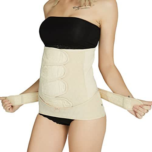 Neotech Care Postpartum Girdle & Pelvis Belt - Cotton - Post Pregnancy Belly Band Support Wrap - for Body Shaping, Tummy Trimming, Flat Stomach (Black, L)
