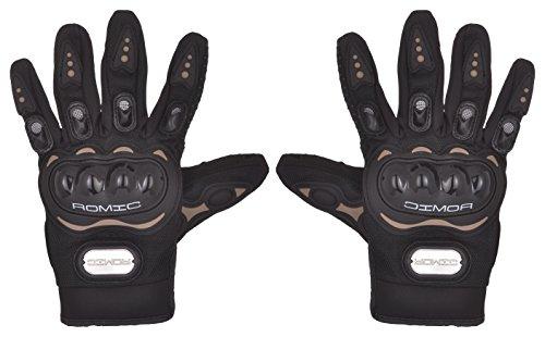 Romic Leather Motorcycle Full Gloves (Black, XXL)