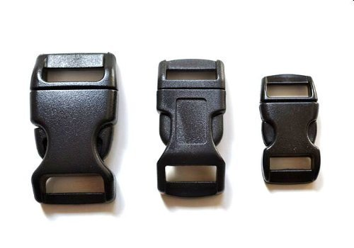 60 - 5/8, 1/2, & 3/8 Black Side Release Buckles (20 Each) For Paracord Bracelets 60 - 5/8 1/2 Paracord 550 Bracelets