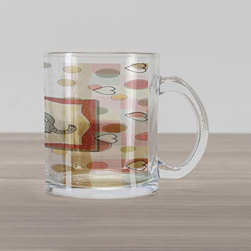 Ambesonne Elephant Nursery Glass Mug, Vintage Romantic Composition of Playful Kids with Childish Drawing Hearts, Printed Clear Glass Coffee Mug Cup for Beverages Water Tea Drinks, Multicolor