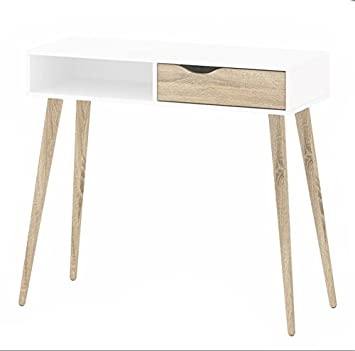 Merveilleux Modern Retro Style 60s 70s Dressing Console Table/Desk DELTA White/sonoma  Oak