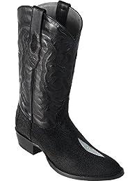 Original Black Single Stone StingRay Skin Round Toe Boot