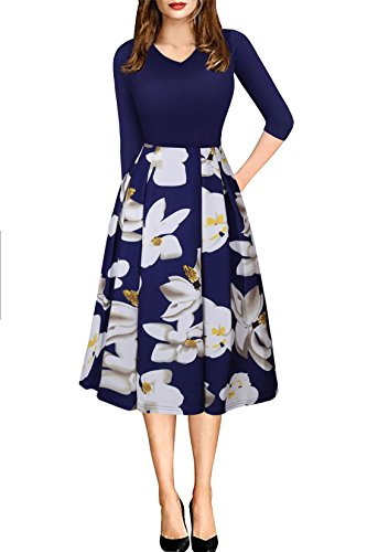 Women's Sexy 3/4 Sleeve V Neck Pocket Floral Flared Skirt Midi Party Dress Navy L (Valentines Party Dresses)