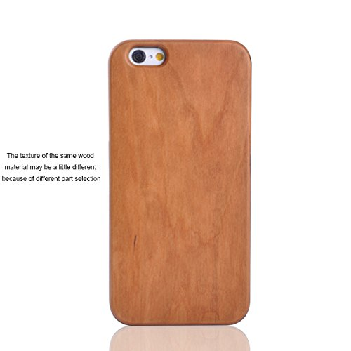 iPhone 6 Plus Case, HESPLUS Unique Real Handmade Natural Cherry Wooden Wood and PC Hard Case for Apple iPhone 6 Plus 5.5 Inch (D)