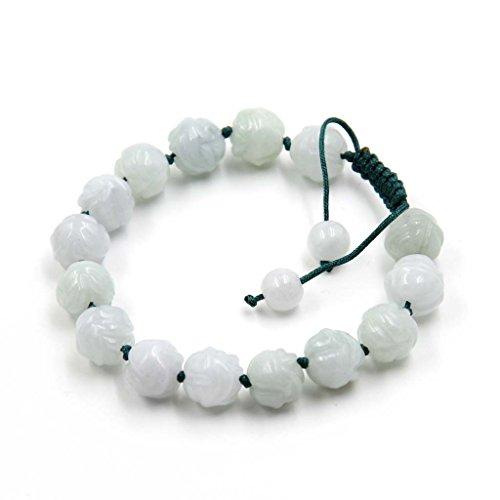 Jadeite Jade Carved Flower Beads Knotted Length Adjustable Bracelet