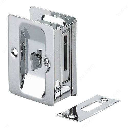 Pocket Door Privacy Lock Rectangular Handle for Sliding Doors (Chrome) ()