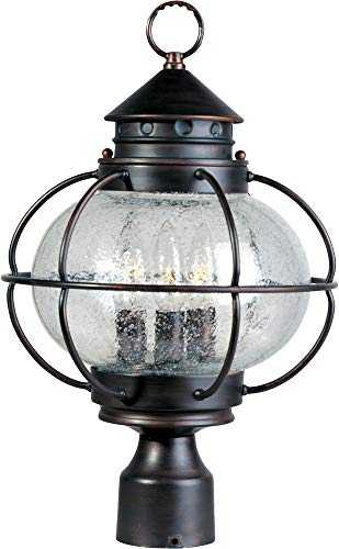 Maxim 30500CDOI Portsmouth 3-Light Outdoor Pole/Post Lantern, Oil Rubbed Bronze Finish, Seedy Glass, CA Incandescent Incandescent Bulb , 60W Max., Damp Safety Rating, Standard Dimmable, Frosted Glass Shade Material, Rated Lumens