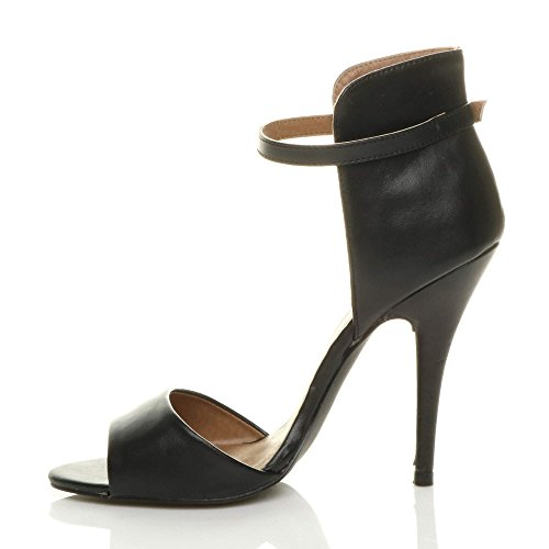 Womens ladies high heel stiletto party ankle cuff strap contrast two tone sandals peep toe shoes size Black Matte OaDAtRIO