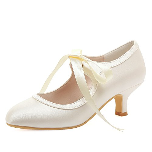 ElegantPark HC1803 Women Mary Jane Pumps Mid Heel Closed Toe Ribbon Satin Bridal Wedding Shoes Ivory US 9 ()