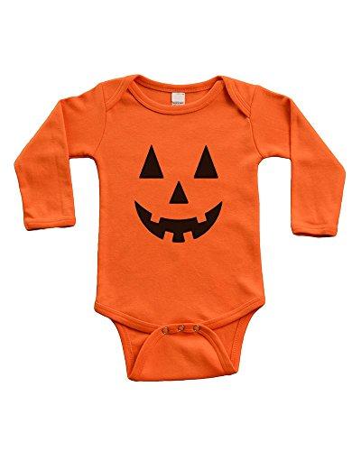 Long Sleeve Onesie -Halloween Jack O' Lantern, Orange,