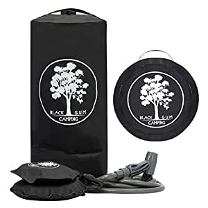 Portable Solar Camp Shower 11 litres. Self Standing Base with Pressure Foot Pump. Folds Into Compact Carry Bag. Perfect for Camping, Beach, Outdoors and Hiking