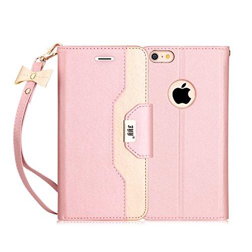 iPhone6sPlus ケース iPhone6Plus ケース,FYY 女子向 手帳型 ミラー付き カードポケット付き スタンド機能 ストラップ付き マグネット式 ハンドメイド PUレザー スマホケース iPhone6s Plus/6Plus 対応 ローズゴールド