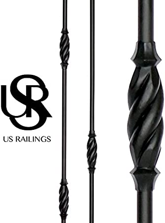 Flat US Railings 102.44.58 Single Knuckle Rope Hollow Iron Baluster Black Round 5 Piece