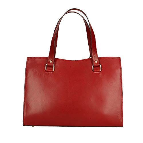 Made In Rouge 38x27x12 À Véritable Italy Sac Cm Cuir Main Chicca Borse En 78x0p0