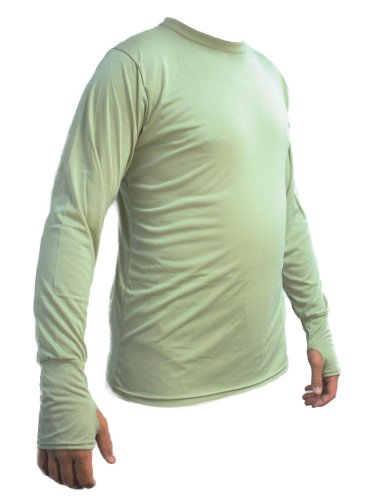 Kenyon Men's Silk Weight Thermal Crew Top with Thumb Cuff, Desert Sand, X-Large
