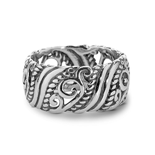 Carolyn Pollack Sterling Silver Open Scroll Work Band Ring Size 9