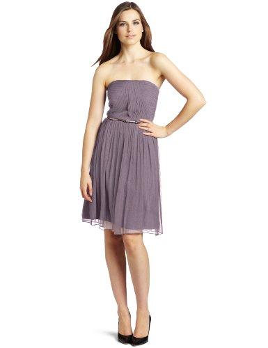 Donna Morgan Women's Strapless Belted Chiffon Dress, Grey Ridge, 4 (Donna Morgan Silk Chiffon)