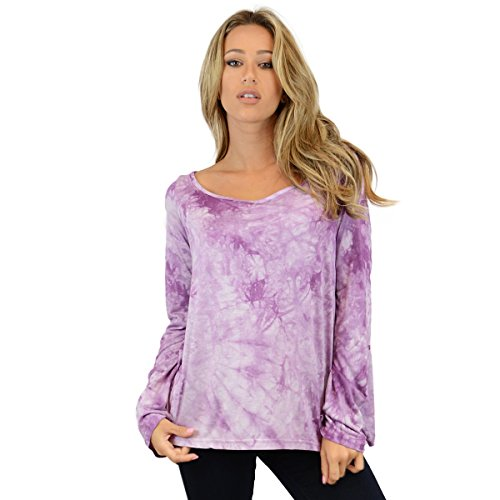 Ohconcept Collection Women's Chiffon Tulip Back Top, Purple, S-L