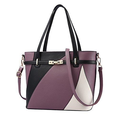 Leather Bag Tote Messenger Faux Casual Retro Shopping Wallet Darkpurple Shoulder Women's Bag Bag 4ZqxH5nBB