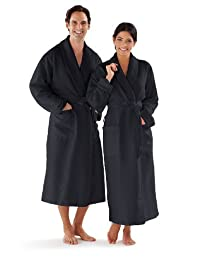 Boca Terry Women's and Men's Robe, Luxury Microfiber Black Bathrobe, XXL